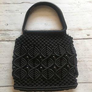 Handbags - Black Crochet and Beaded Handbag